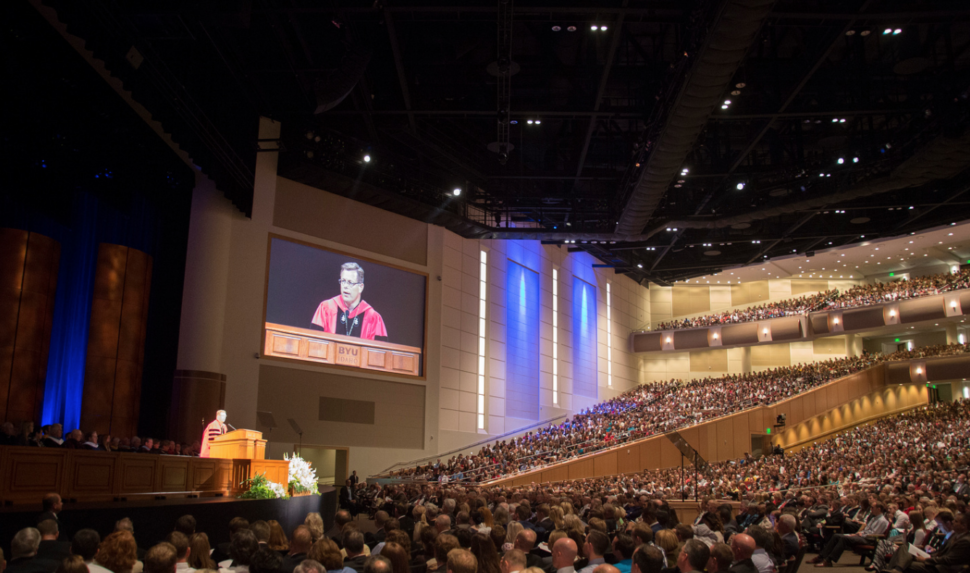 BYU-Idaho President Clark G. Gilbert speaks at his Inauguration. Photo by Erik Hill.